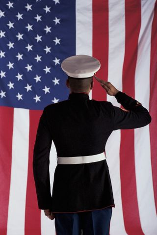 Military man saluting flag